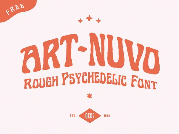 20 Free Psychedelic Fonts All Designers Must Have: Art-Nuvo
